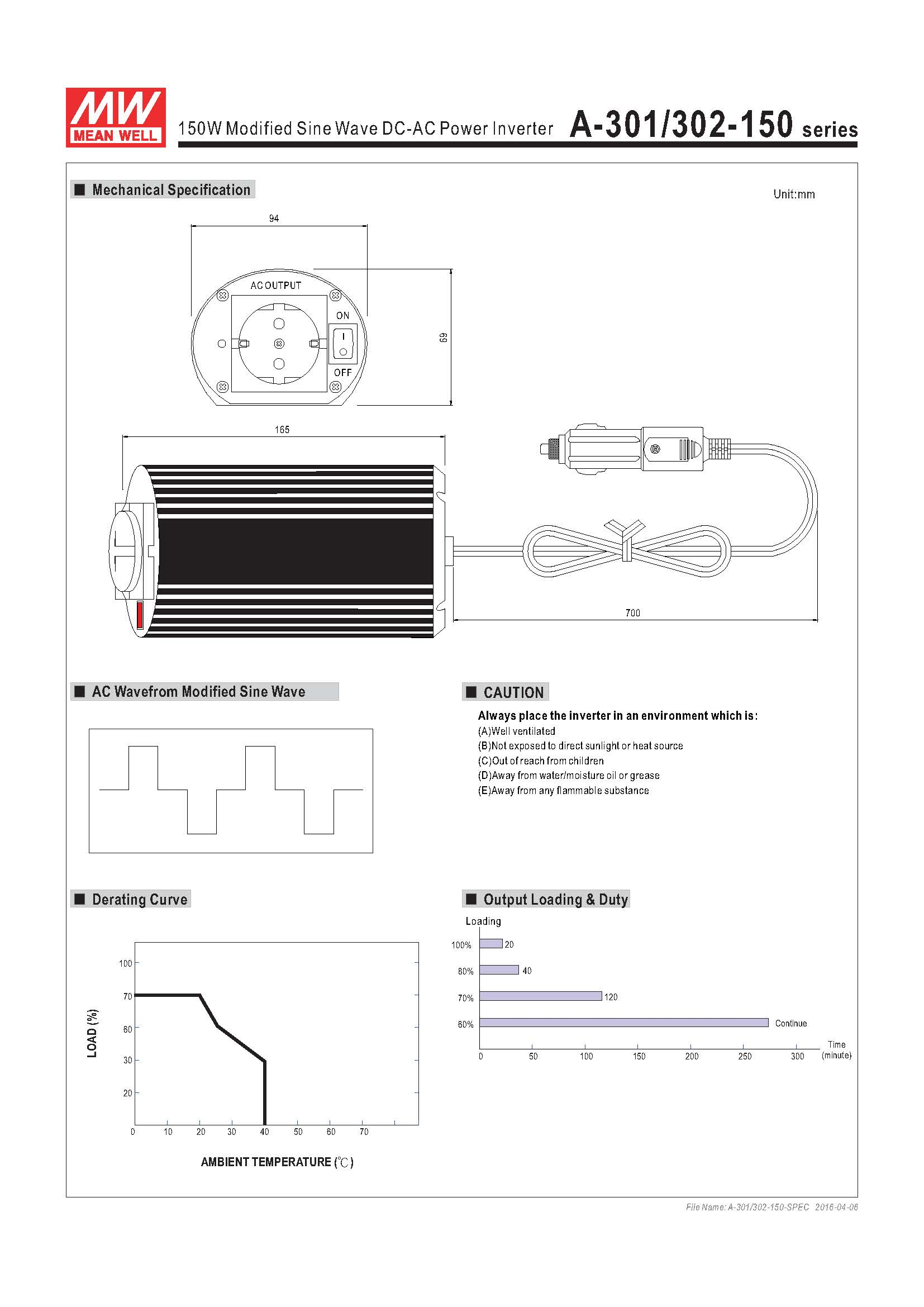 A-301302-150-SPEC - 150W Modified Sine Wave DC-AC Power Inverter Diagram Specification Graphic