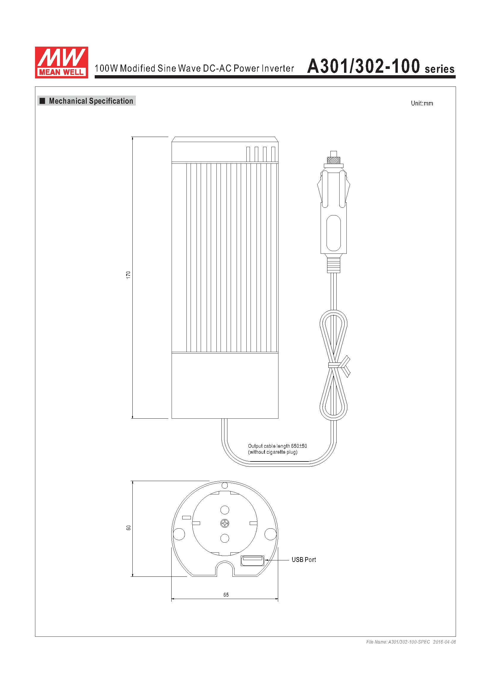 Mean Well 100W Modified Sine Wave DC-AC Power Inverter A301/302-100 Series Specification Diagram Graphic
